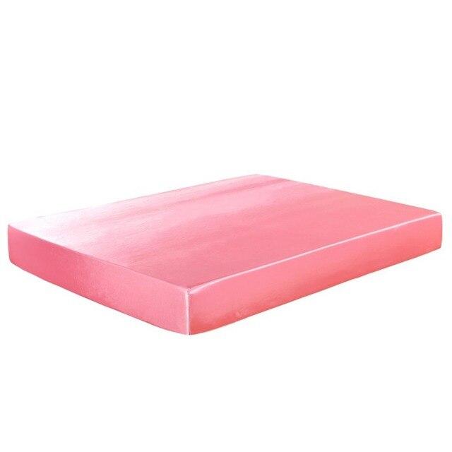 Satin Silk Ed Sheet Solid Color Mattress Cover Protector Elastic Band Drap Housse De Matela Queen
