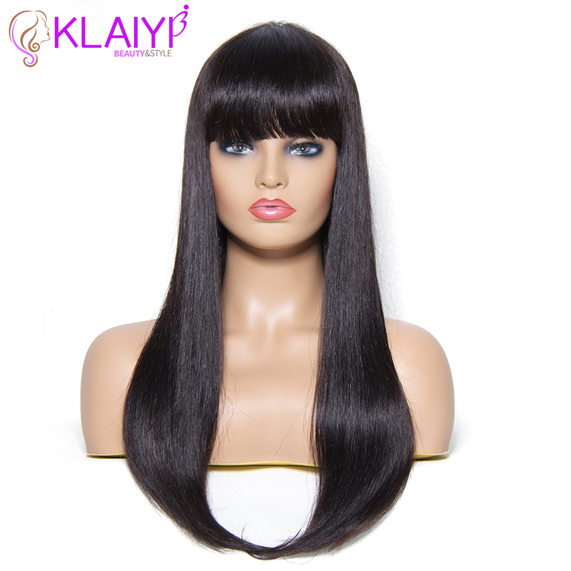 Klaiyi Hair Straight Human Hair Wigs 22 Inch Long Brazilian Remy Human Hair Wigs With Bang For Women Natural Color #1 #2 #4