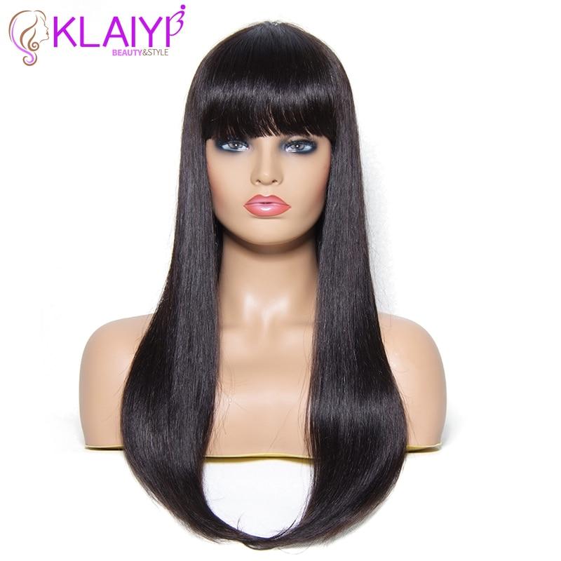 Klaiyi Hair Straight Human Hair Wigs 22 Inch Long Brazilian Remy Human Hair Wigs With Bang
