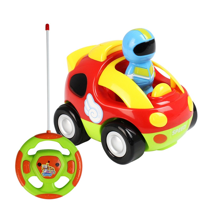 Wireless Remote Control Children Cartoon Car With Light Music Vehicle Toy 2 Channels Electric Radio Control Bright Colorful Gift
