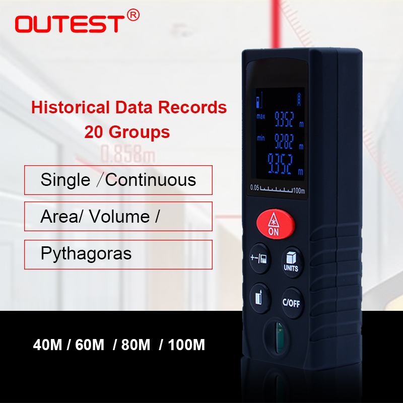 OUTEST laser distance meter 40m/60m/80m/100m rangefinder trena laser tape range finder build measure device ruler test tool mini handheld digital laser distance meter 60m rangefinder trena laser tape range finder build measure device ruler test tool