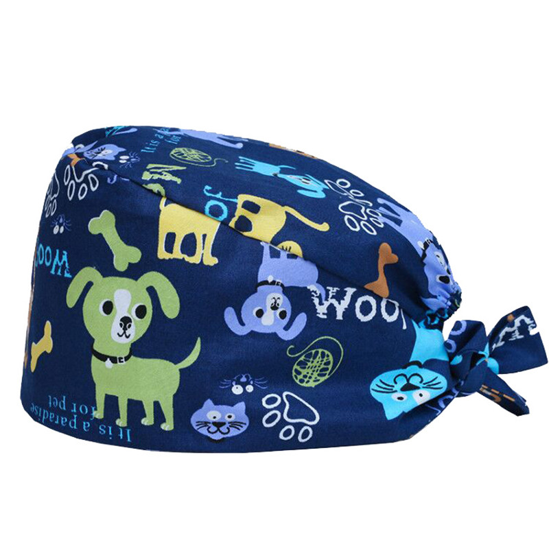 Pet Shop Caps For Women And Men 100% Cotton Dog Cat Print Surgical Medical Hats Strap Tie Back Elastic Working Hat One Size 2018