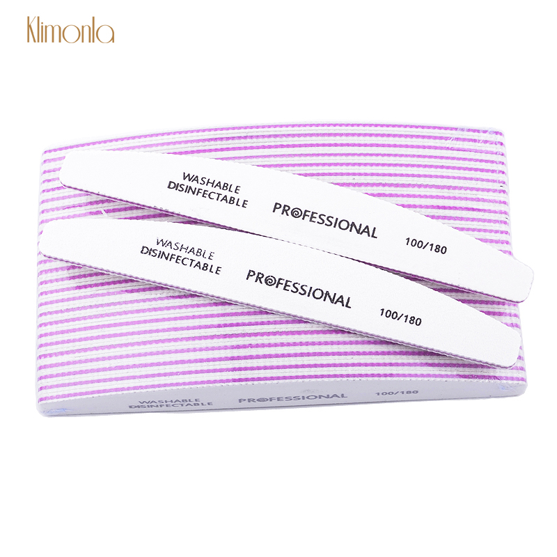 Professional 50pcs/lot White Nail File Sandpaper 100/180 Grits Half Moon Sanding Buffer Blocks Cuticle Remover Nail Beauty Tools-in Nail Files & Buffers from Beauty & Health
