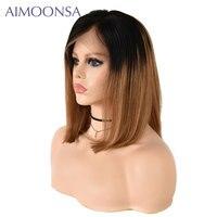 Бразильские волос 13*4 Синтетические волосы на кружеве короткий боб парики для Для женщин 1B/27 бразильский человеческих волос ombre Парик 130% пло