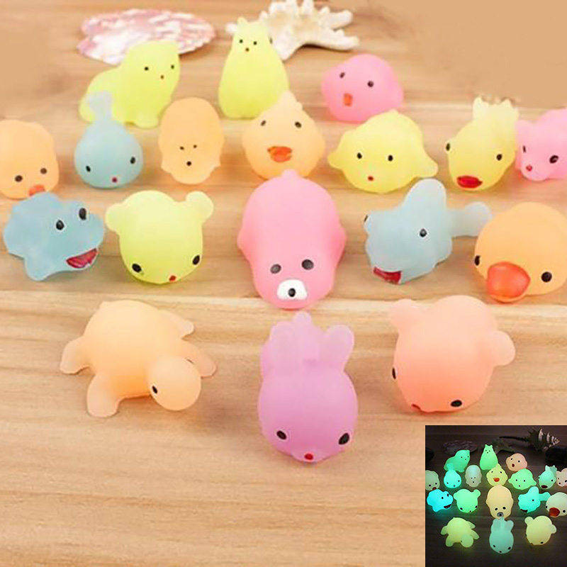 10 PCS Fluorescence Squeeze Toys  Pinch And Decomp Luminescent Small Animals Soft TPR Dolls Kids Toys