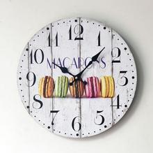 Sweet Macaron Dessert Pattern Digital Wood Wall Clock Home Cafe Coffee Deco Modern Style 35CM