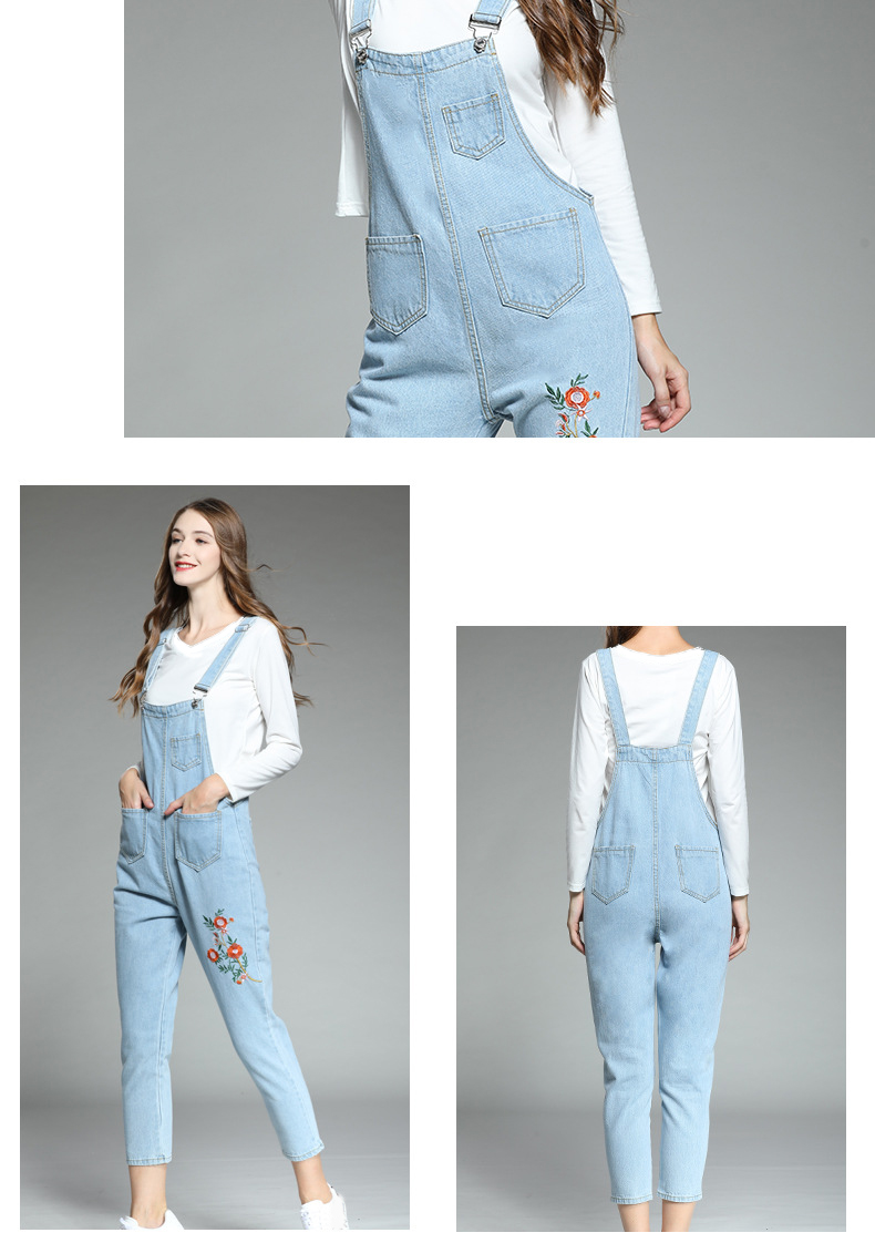 Large size women's 2018 autumn new fat mm Korean version of the embroidered piece of his pants ageing fat sister thin strappy pants (5)
