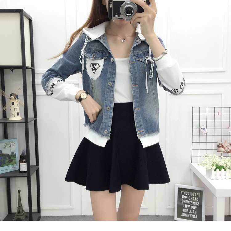 New Autumn Casual Hooded Short Denim Jacket Women Fashion Splicing Patch Coat Plus size Pockets Loose Jackets Jeans Coat Female 49