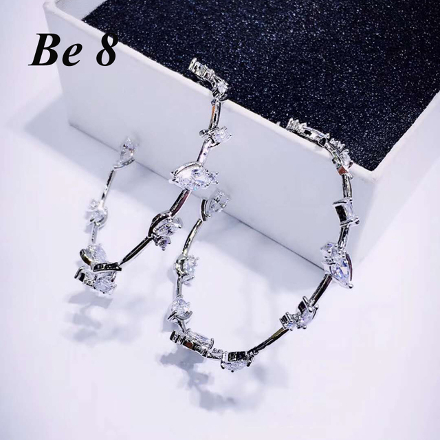 Be8 Brand New Fashion Top Quality Cubic Zirconia Round Flower Shape Hoop Earrings For Women High-end Jewelry Party Gifts  E-272