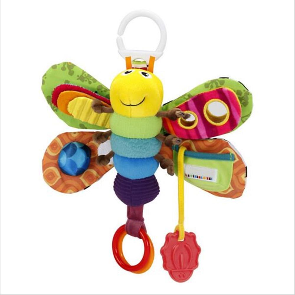 Для маленьких девочек и мальчиков 0-12 месяцев игрушки коляски/кровать висит бабочка/пчела колокольчиков трещотки/Мобильные прорезыватель образование фаршированные/плюшевые игрушки ребенка