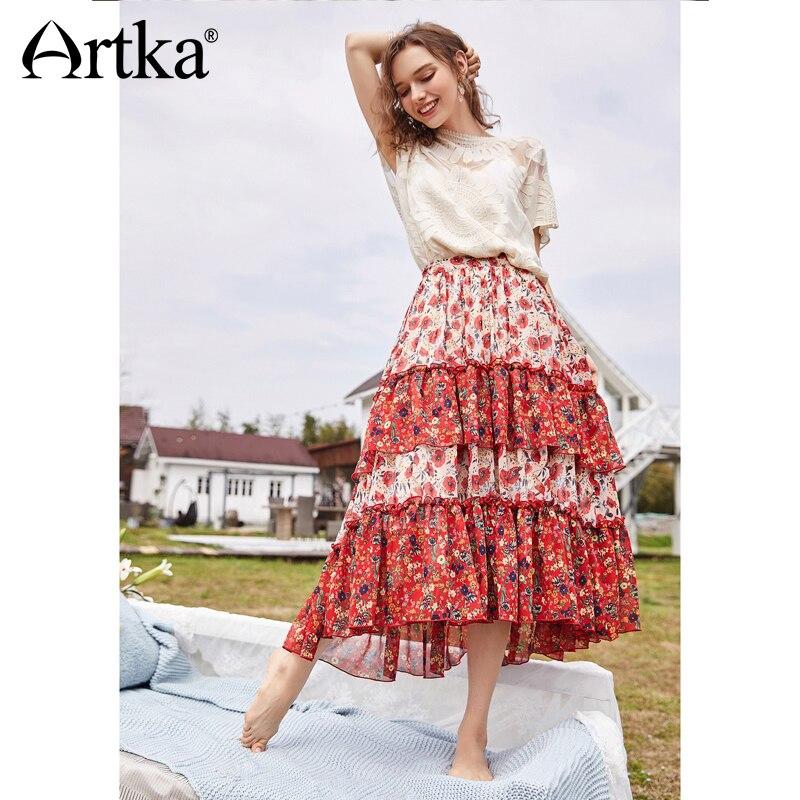 Artka 2018 New Women Summer Romantic Garden Floral Natural Waist Irregular Hem Stitching Long Skirt QA10485X