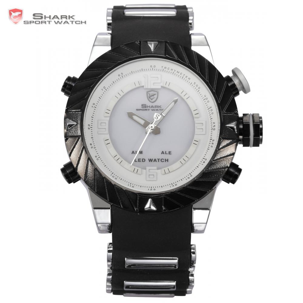 Prix pour Goblin shark sport montre cadran blanc alarme sport calendrier dual time numérique bracelet en silicone militaire hommes garçon montres/sh167