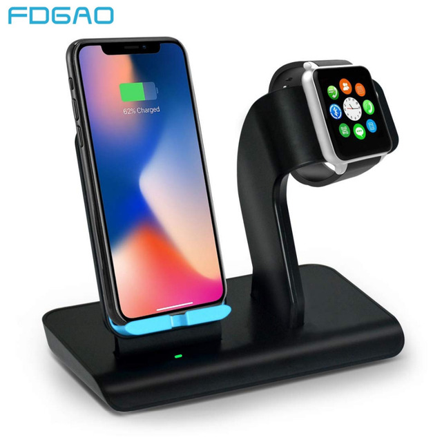 competitive price d390e df2d2 US $18.23 34% OFF|FDGAO Fast Charging Stand For iPhone XS/XS Max/XR/X/8/8  Plus 10W Qi Wireless Charger For Apple Watch 4/3/2/1 Dock Station Holder-in  ...