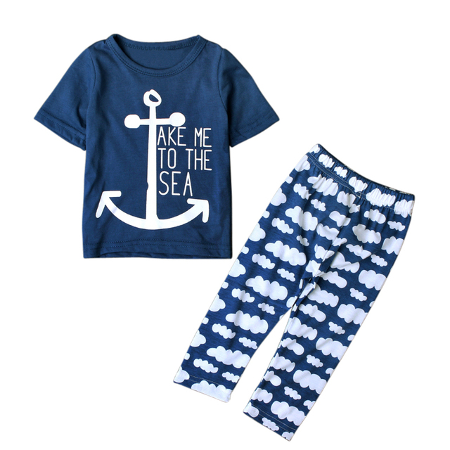 Baby Boy's Cotton Short Sleeve Lettered T-shirt and Pants Sleeping Wear