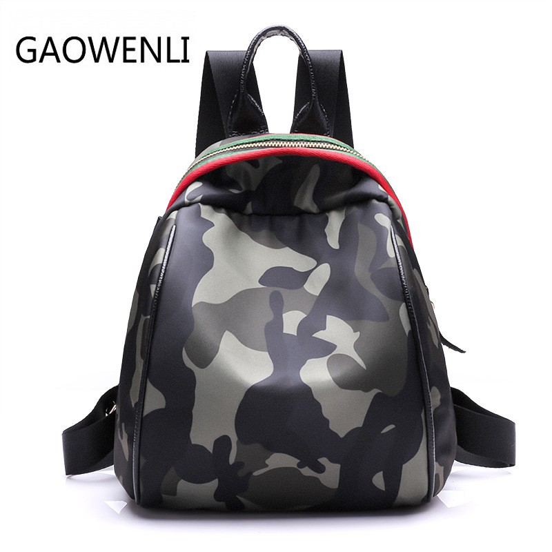 GAOWENLI Multi function College Wind Fashion Camouflage Backpack Women Famous Brands School Bags Mochila Bags for