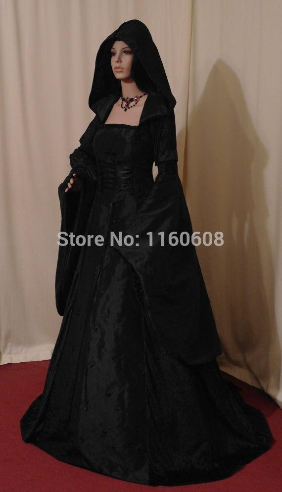 Středověké renesanční svatební Gotthic Handfasting šaty saténová stuha renesanční šaty na zakázku všech velikostí