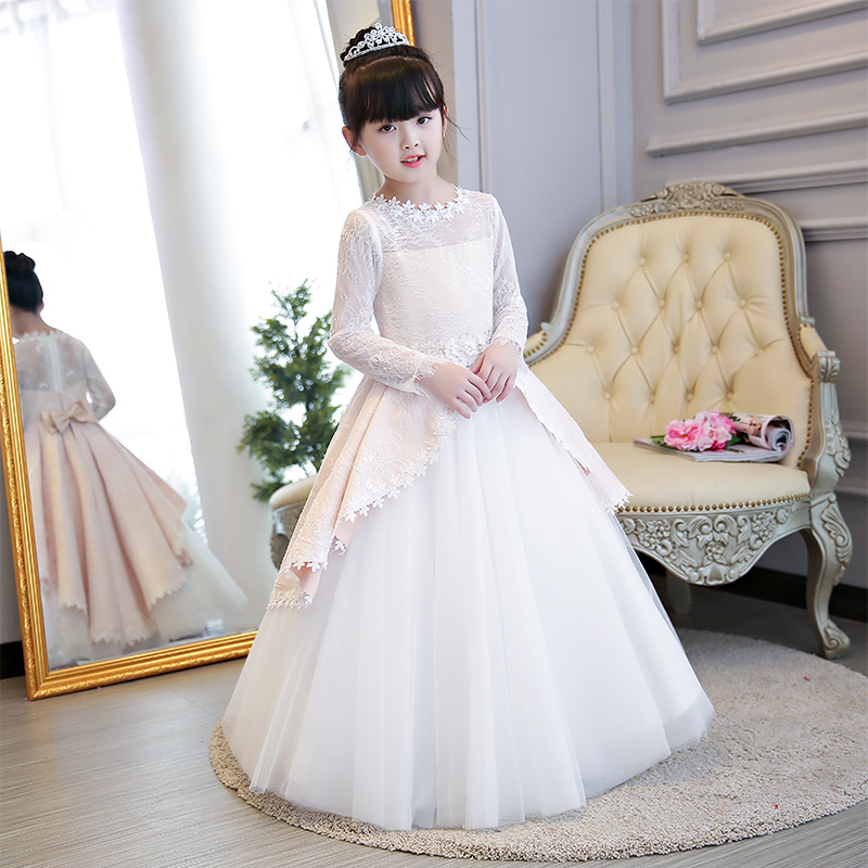 2018 Autumn Winter New Children Girls Luxury Elegant Birthday Wedding Party Long Sleeves Lace Dress Teens Kids Host Piano Dress pink lace up design cold shoulder long sleeves hoodie dress