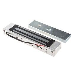 Única porta 12 v elétrica magnética fechadura eletromagnética 180 kg (350lb) força de retenção para controle de acesso prata