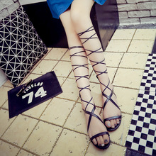 Women's pu leather sandals Fashion Back Zipper Open Toe Knee High Tall slip-on Heel Sandals Boots Shoes sexy lady summer shoes