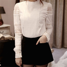 2016 Robe Sexy Summer Women's Slim Embroidery Long Sleeve Shirts Crochet White Cotton Blouse Formal
