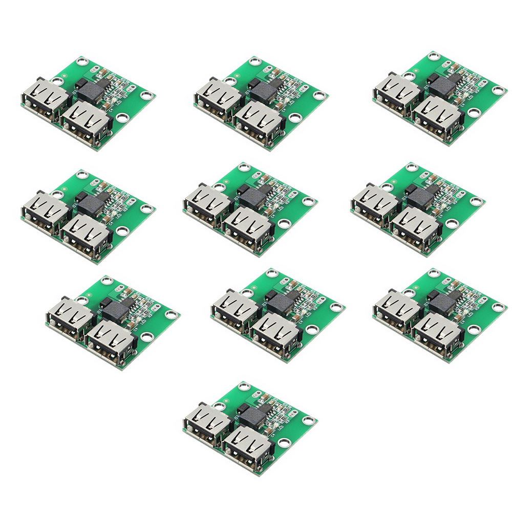 10PCS DC-DC Step Down Charger Power Module Dual USB Output Buck Voltage Board 9V 12V 24V To 5V 3A Car Charge Charging Regulator
