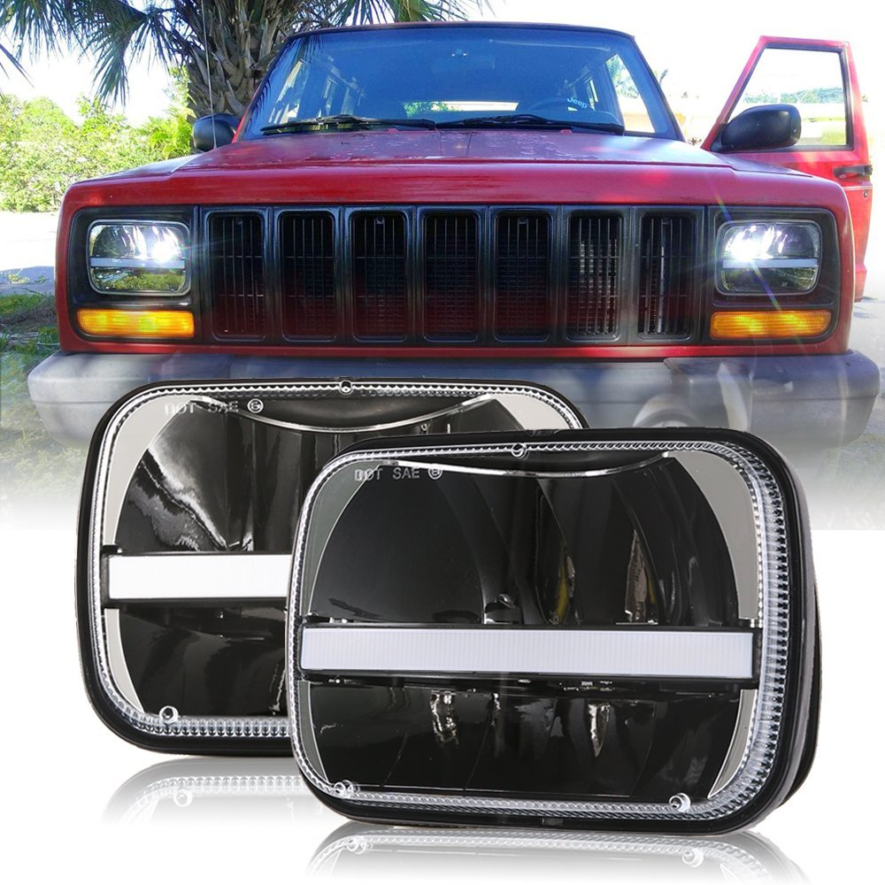 1 Pair Rectangular 5x7 Led Headlight High Low Beam Headlamp For Jeep Wrangler YJ Cherokee XJ Trucks Replacement H6054 H5054 1 pair 7 inch rectangular led headlight