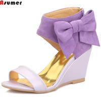 ASUMER purple pink apricot fashion summer ladies shoes zipper wedding shoes wedges shoes women high heels sandals