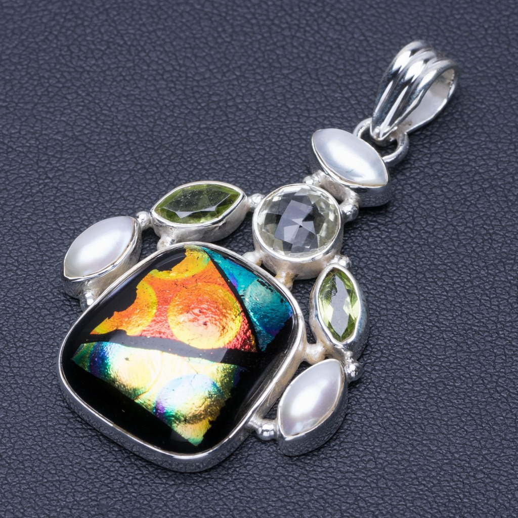 Rainbow Dichroic Glass,Peridot,White Topaz and River Pearl 925 Sterling Silver Pendant 2 Q0701
