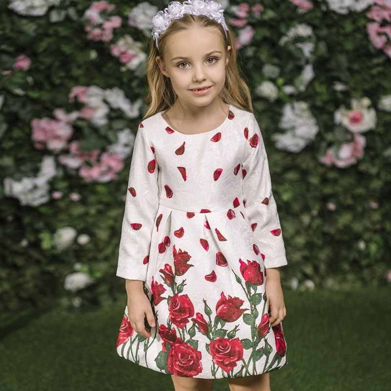 Girls Dress 2017 Brand Princess Dresses with Rose Flower Print Robe Fille Enfant Kids Dresses for Girls Clothes 3-8Y