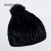 Aorice HF7043 Women Rabbit Fur Hat