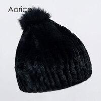 Aorice HF7043 Women Rabbit Fur Hat