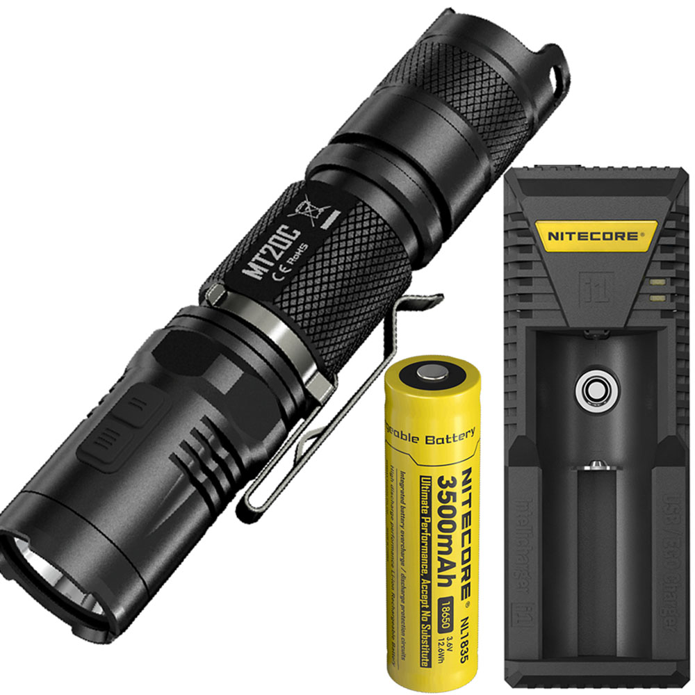 LED Outdoor Flashlight NITECORE MT20C CREE XP-G2 (R5) max. 460 lumen torch + 18650 3500mAh rechargeable battery + I1 charger astrolux m01 nichia 219b cree xp g2 100lm usb rechargeable mini led flashlight