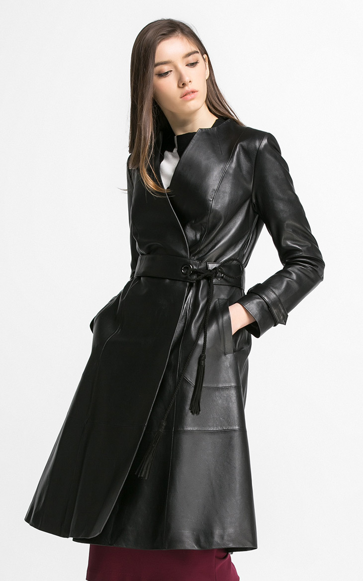 HNW002 font b Women b font Supper Long style Genuine Leather windbreaker double breasted V collar