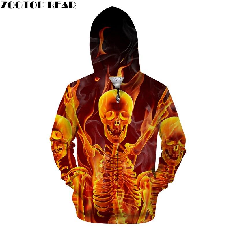 Fire&Skull 3D Zip Hoodie Men Zipper Hoody Casual Sweatshirt Male Tracksuit Pullover Printed Coat Streatwear DropShip ZOOTOPBEAR