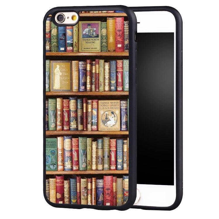 retro estantera biblioteca patrn suave de goma cajas del telfono mvil para iphone s plus plus se s s c cubier