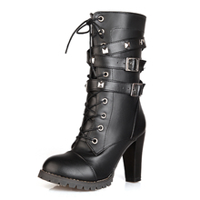 2016 hot winter scooter fashionable rivets Short-staple high-heeled boots Hipster hot style special female boots