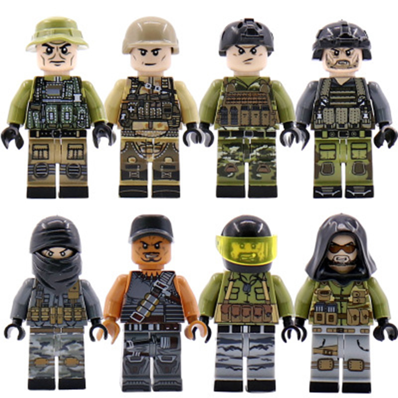 Military SWAT Team Guns Weapons Pack Building Blocks City Police Figure WW2 Compatible Legoings Bricks Army Builders Toys Gift guerre moderne lego