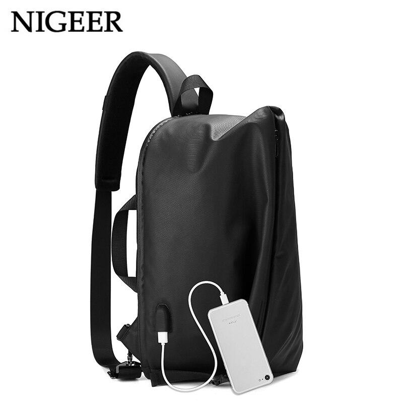 NIGEER Black Messenger Chest Bag Men USB Charging Travel Shoulder & Handbags Large Capacity 14.3 inch Laptop Crossbody Bag n1728 nigeer men chest bag casual shoulder