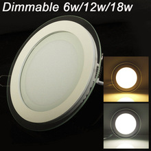 Dimmable LED Panel Light Round Glass Downlight 6W 9W 12W 18W Ceiling Recessed Lights SMD 5630 Paine Lamps AC85-265V