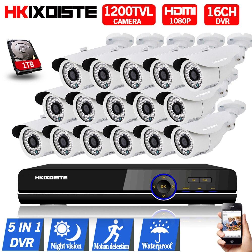 16-канальный AHD DVR 1080 P видеонаблюдения DVR Hybrid 1080 P HDMI DVR CCD 1200TVL Водонепроницаемый 720 P Камера наблюдения Системы hd 1 ТБ