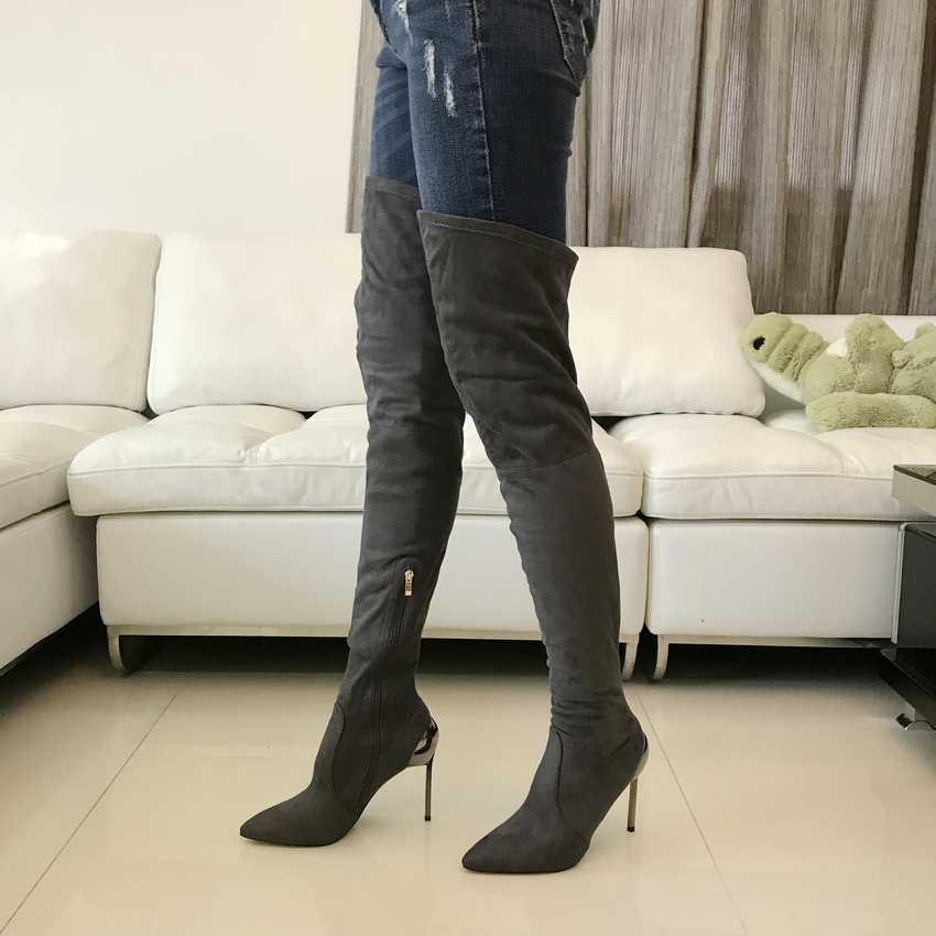 2018 Mùa Thu Mùa Đông Phụ Nữ Khởi Động Stretch Faux Suede Slim Đùi Cao Boots Thời Trang Sexy Over the Boots Gối Cao Gót Giày Phụ Nữ
