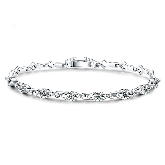 Marquis White CZ 925 Sterling Silver Tennis Bracelet