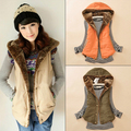 Women Spring & Autumn Waistcoats Length Jacket Hooded Thick Cotton Coat Warm Velvet Sleeveless Vests Female Plus Size
