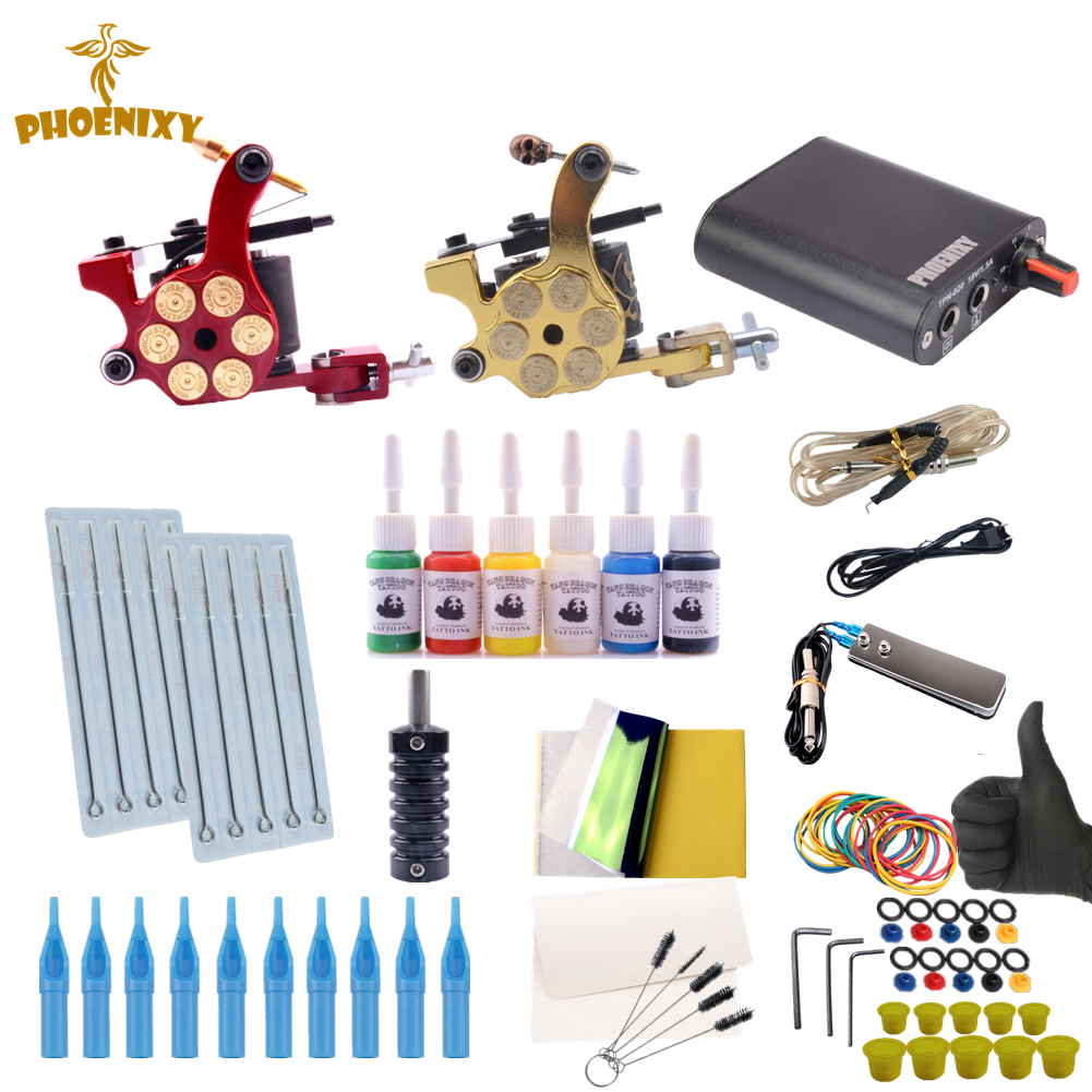 Tattoo Machine Kit Two Tattoo Gun Beginner Tattoo Supplies Professional Tattoo Kit Complete 6 Inks with Power Supply Clip Cord beginner tattoo kit 2 machine gun with lcd tattoo power inks supply free shippiing