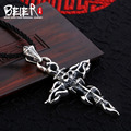 Beier new store 100% 925 thai silver sterling cross pendant necklace punk skull fashion jewelry free give rope A1844