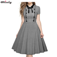 Oxiuly Women Polka Dot Dresses Black Turn-down Tie Collar Vintage Houndstooth Work Wear Female Red Gingham Plaid A-line Dress