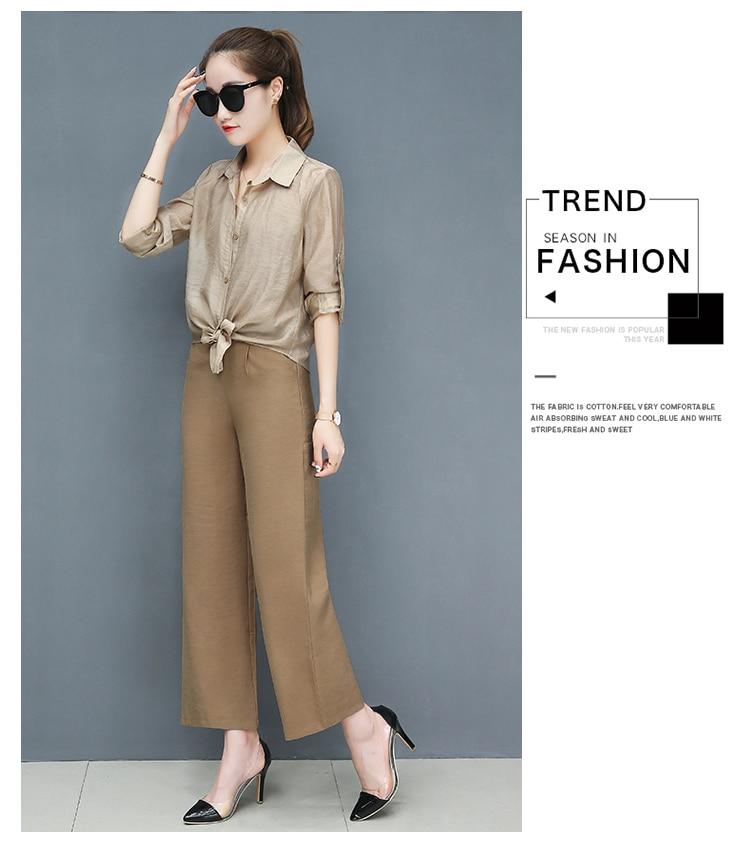 2019 Spring summer women sets office lady elegant chiffon blouse shirts+female wide leg pants trousers pantalon two piece sets 11
