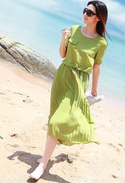 2013 summer women's pleated short-sleeve slim medium-long beach chiffon one-piece dress skirt female