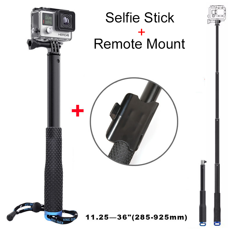 2015 new selfie monopod stick with remote mount for gopro hero 3 3 4 hd xiao. Black Bedroom Furniture Sets. Home Design Ideas