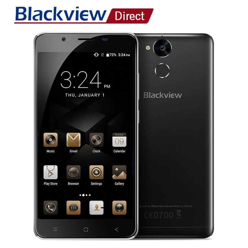 Origine Blackview P2 Lite 5.5 pouces MTK6753 Octa core 3 gb RAM 32 gb ROM 6000 mah Intelligent Android 7.0 4g LTE téléphone portable